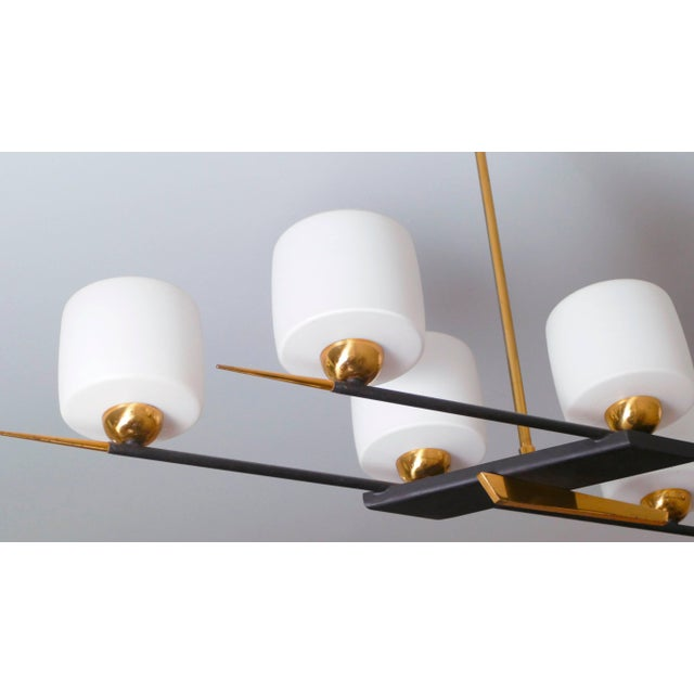 1960s Arlus Brass and Opaline Chandelier, 1960s For Sale - Image 5 of 7