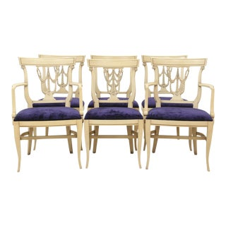 Sheraton Style Royal Purple Dining Chairs - Set of 6