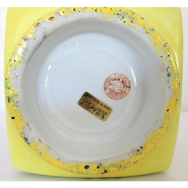 """Mid 20th Century Imperial Yellow Chrysanthemum """"Cong"""" Vase and Stand For Sale In Tampa - Image 6 of 6"""
