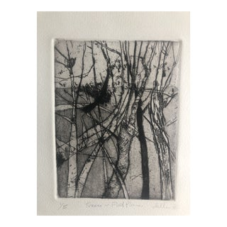 """Trees in a Flat Plane"" Aquatint by Dellas Henke, 1976 For Sale"