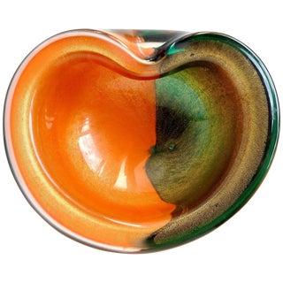 Alfredo Barbini Murano Bi Color Gold Flecks Italian Art Glass Decorative Bowl For Sale