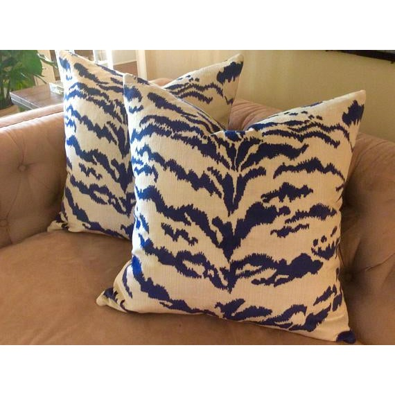 2020s Contemporary Tiger Stripe Blue & Ivory Velvet Pillows - a Pair For Sale - Image 5 of 7