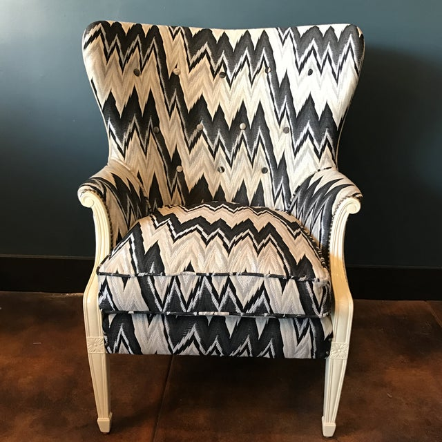 Custom Brass Tacked Wingback Chair - Image 3 of 9
