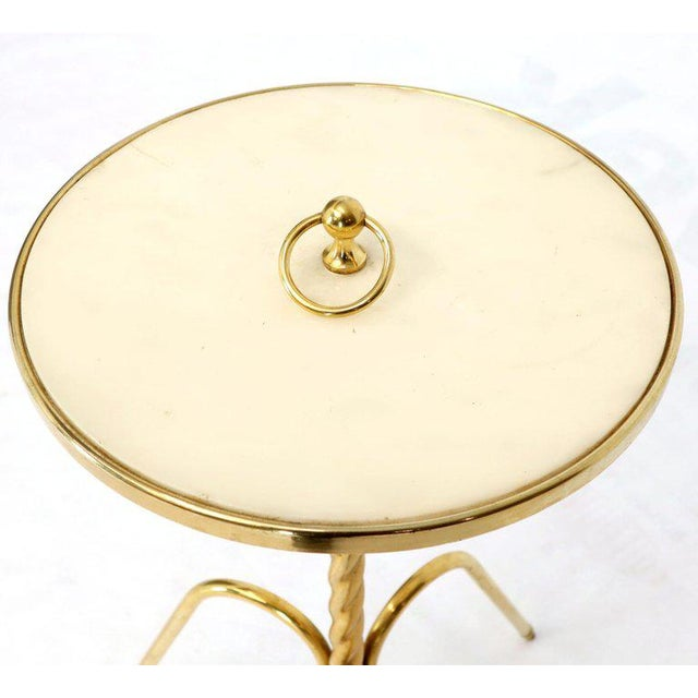 Metal Fine Solid Brass Profile With Onyx Top Side End Serving Accent Table, Italy For Sale - Image 7 of 11