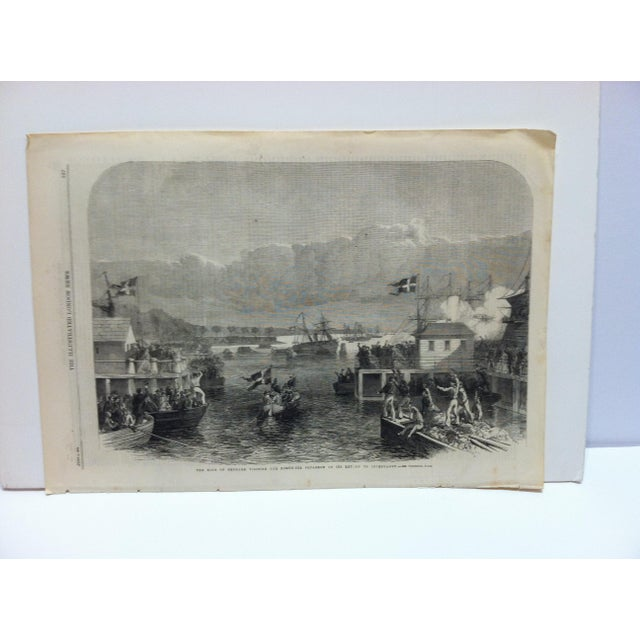 "Mid 19th Century 1864 Antique Illustrated London News ""The King of Denmark Visiting the North Sea Squadron"" Print For Sale - Image 5 of 5"