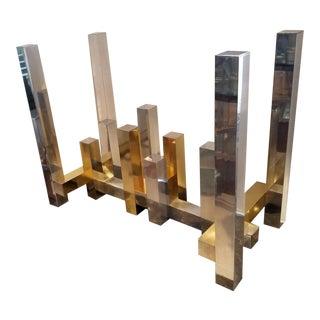 Vintage Paul Mayen for Habitat Two Tone Aluminum Cityscape Dining Table Base For Sale