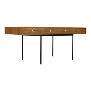 Minimalist Nathan Lindberg Design Teak and Metal Writing Table For Sale