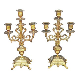 1900s French Antique Bronze Candle Holders - a Pair For Sale