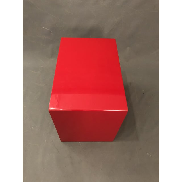 Mid Century Glossy Lacquered Red Waterfall End Tables- 3 Pieces For Sale - Image 9 of 13