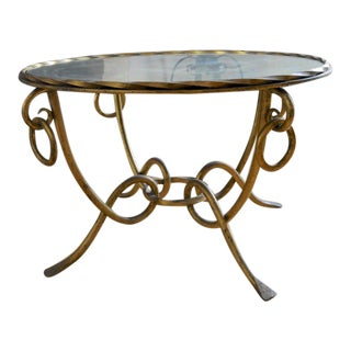 Rene Drouet Gold Leaf Wrought Iron Coffee Table For Sale