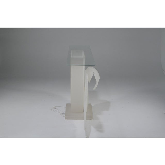 1970s Mid-Century Modern Luminous Electrified Frosted Lucite Palm Motife Console Table For Sale - Image 11 of 13