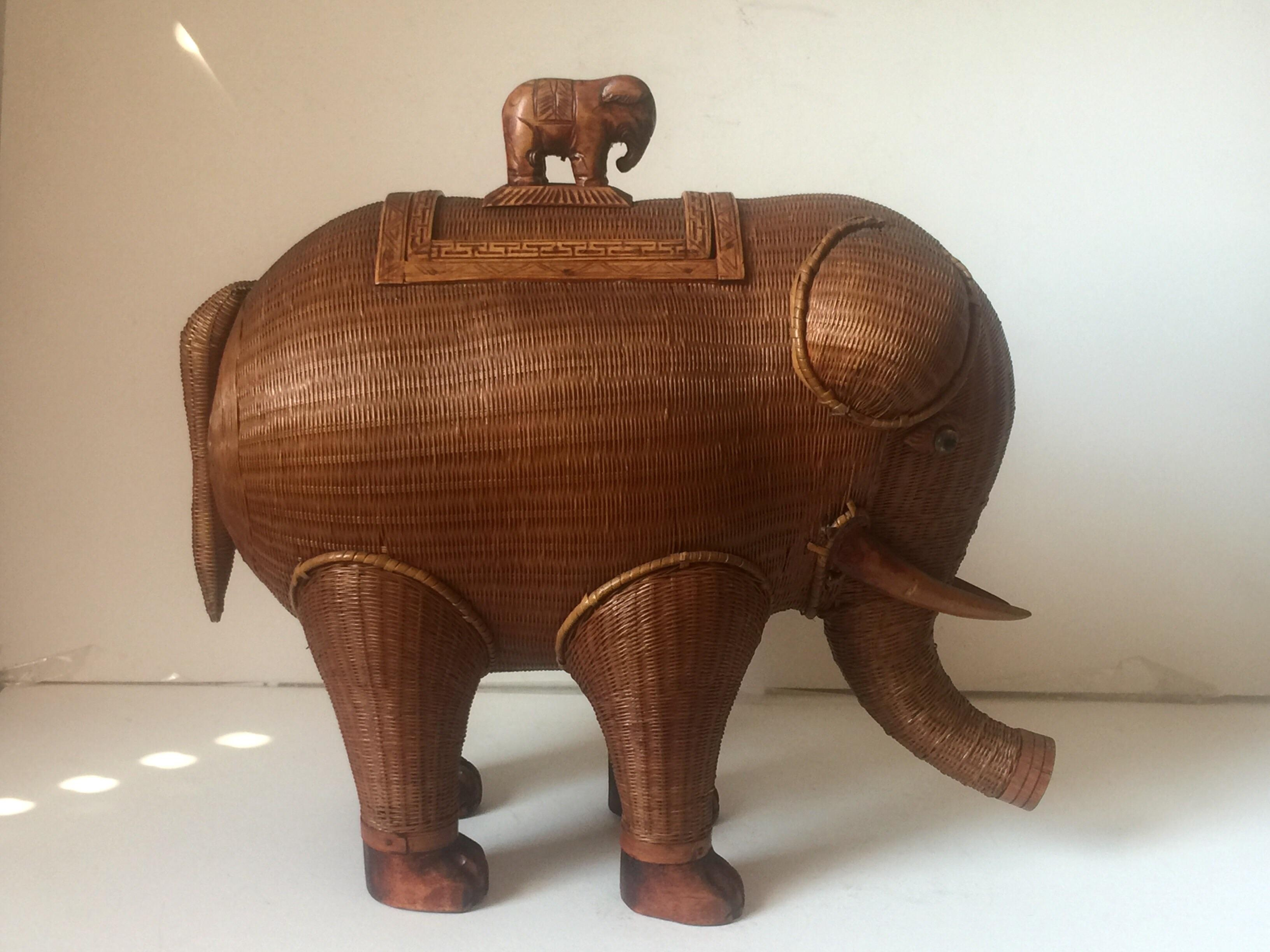 Wicker Elephant Jewelry Box Chairish
