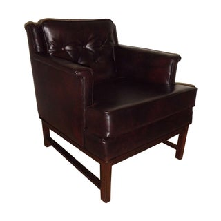 Edward Wormley Dunbar Petite Lounge Chair Leather For Sale