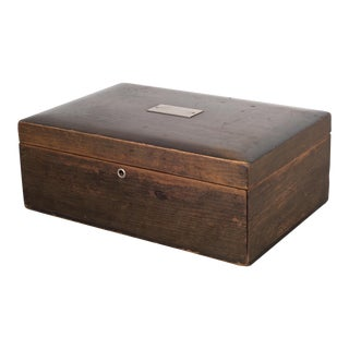 Vintage Walnut Humidor With Silver Nameplate C.1940 For Sale