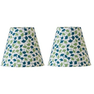 Madcap Cottage Leaf Print Chandelier Clip-On Lamp Shades - a Pair For Sale