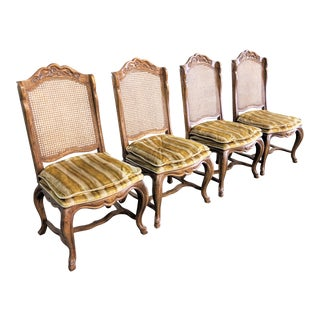 French Provincial Cane Back DIning Chairs - Set of 4 For Sale