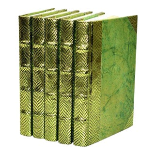Exotic Metallic Collection Chartreuse Green Books - Set of 5 For Sale