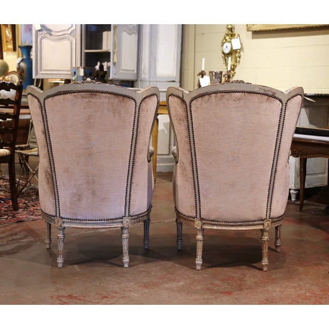 19th Century Louis XVI Carved and Painted Ear Shape Fauteuils - a Pair For Sale - Image 11 of 13