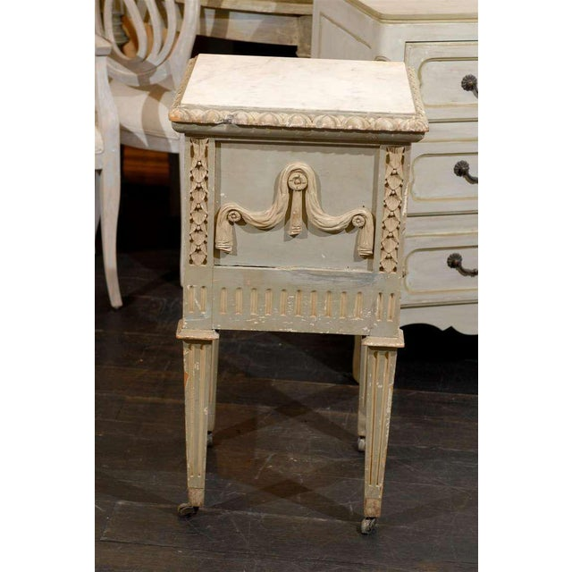Mid 19th Century French Drop-Front Nightstand Table on Casters and Marble Top For Sale - Image 5 of 11