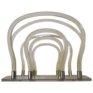 Dorothy Thorpe Chrome Mirror Lucite Magazine Rack For Sale