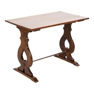 19th Century Country French Walnut Side Table or Console With Iron Stretcher For Sale