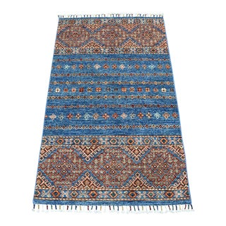 Khorjin Design Blue Kazak Geometric Pure Wool Hand Knotted Rug For Sale
