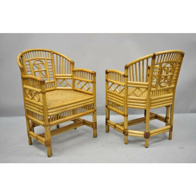 Vintage Brighton Pavilion Style Bamboo & Cane Rattan Arm Chairs - A Pair For Sale - Image 10 of 12