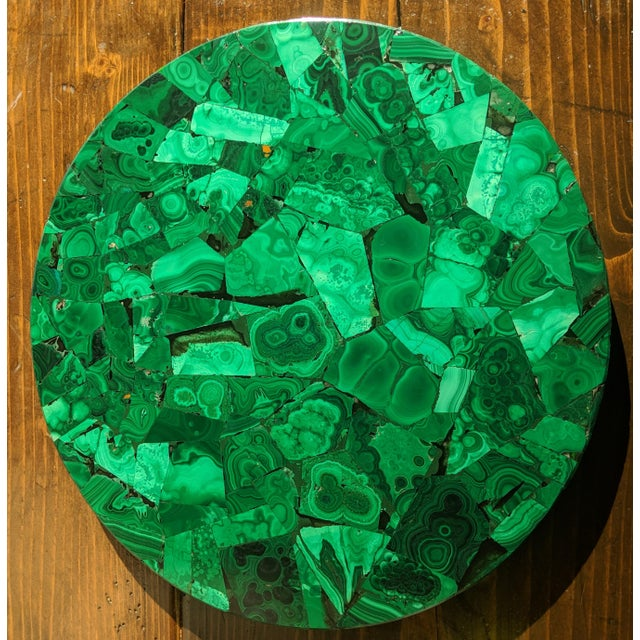 Art Deco Malachite & Chrome Side Table For Sale - Image 9 of 13