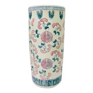 Vintage Painted Ceramic Umbrella Stand / Vase For Sale