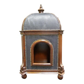 Modern Marie Antoinette Walnut and Black Suede Custom Doghouse
