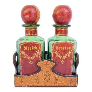 1960's Italian Embossed Leather Bar Decanter Set - 3 Piece Set For Sale