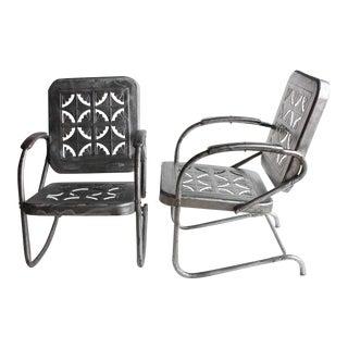 Mid Century Metal Garden Chairs