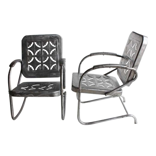 Mid Century Metal Garden Chairs- A Pair For Sale
