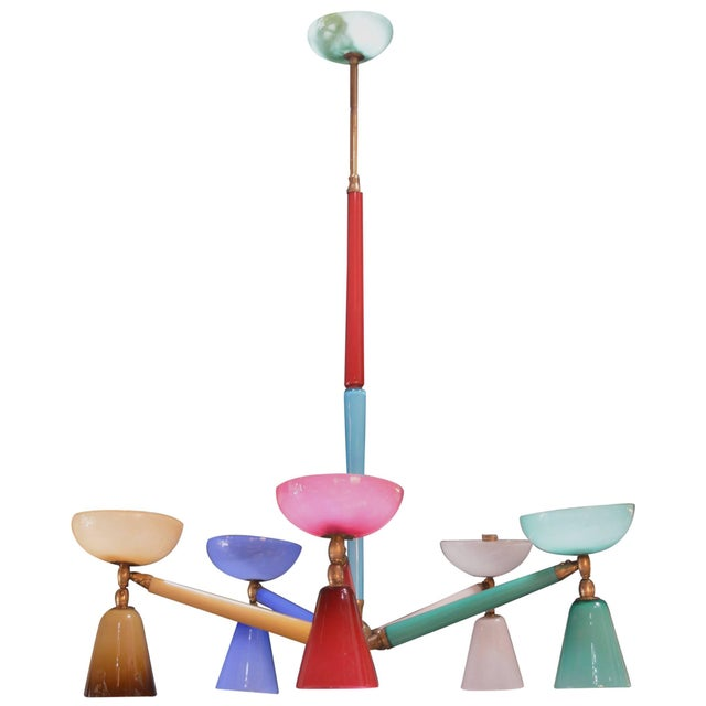 1940s Multicolored Murano Glass Chandelier in the Style of Gio Ponti For Sale - Image 5 of 5