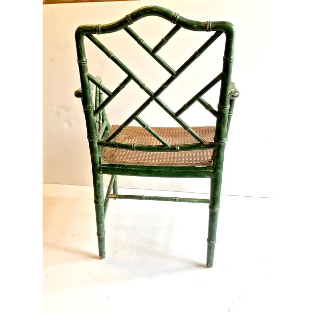Mid 20th Century Chinese Chippendale Faux Bamboo Chairs, Set of 6 For Sale - Image 5 of 7
