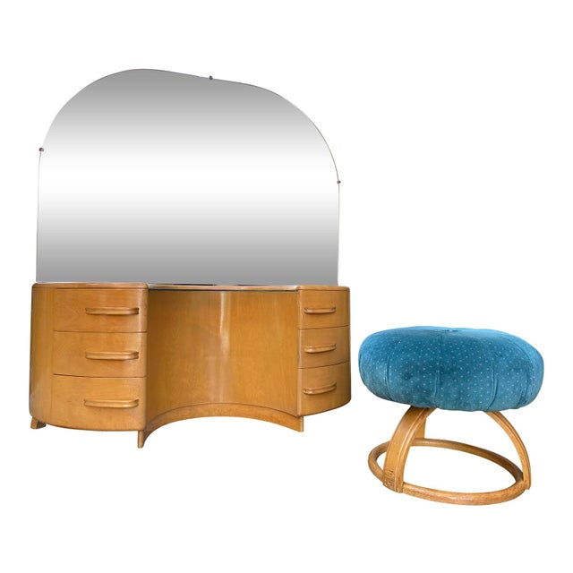 Heywood WakeField Curved Vanity & Matching Stool - 2 Pieces For Sale - Image 11 of 11