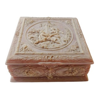 "Vintage Pink Incolay ""Marie Antoinette"" Stone Composite Jewelry Box With Tray For Sale"