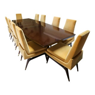 Mid-Century 1960s Mahogany Dining Table & Chairs by Arturo Pani With Brass Inlay For Sale