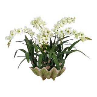 Diane James for Chairish Faux Orchid in Shell Planter For Sale