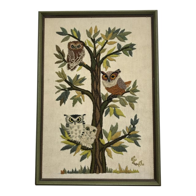 Mid-Century Embroidered Owl Artwork - Image 1 of 8