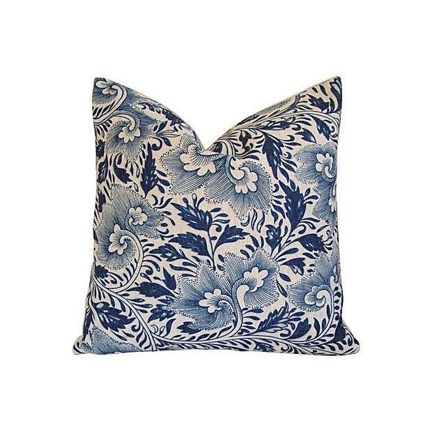 Custom Indigo Blue Floral Linen Pillows - Pair - Image 2 of 7