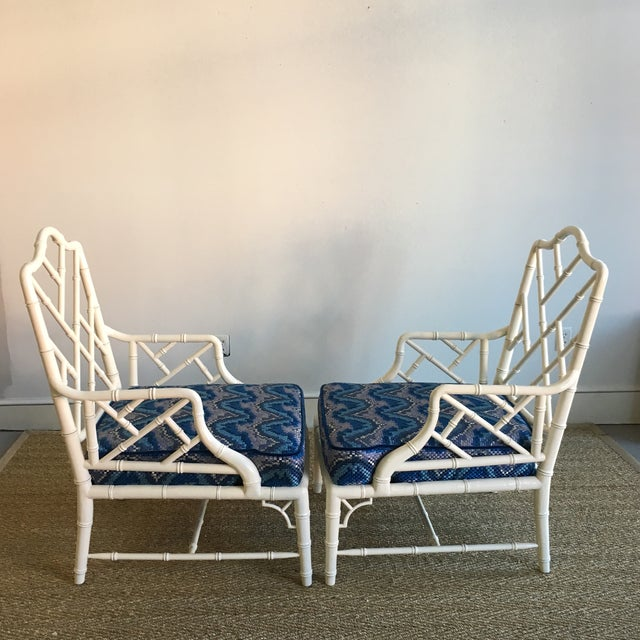 Vintage White Faux Bamboo Club Chairs - A Pair - Image 6 of 7