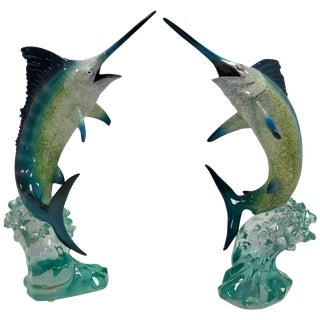 Pair of Robert Wyland Lucite Marlin Sailfish Fish Sculptures For Sale