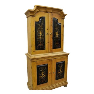 Antique Country French Neoclassical Putti Painted Pine Cabinet For Sale