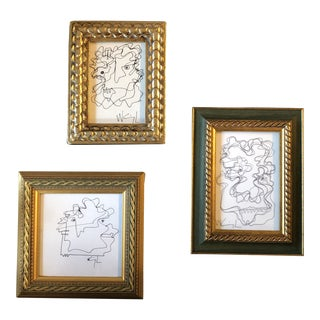 Gallery Wall Collection-3 Original Vintage Wayne Cunningham Abstract Ink Drawings-Set of 3 For Sale