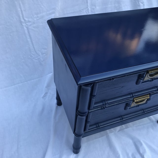 Navy Faux Bamboo Side Table For Sale - Image 5 of 6
