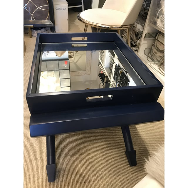 2010s Mid-Century Modern Navy Lacquer Mahogany Pierre Mirrored Tray Table For Sale - Image 5 of 6