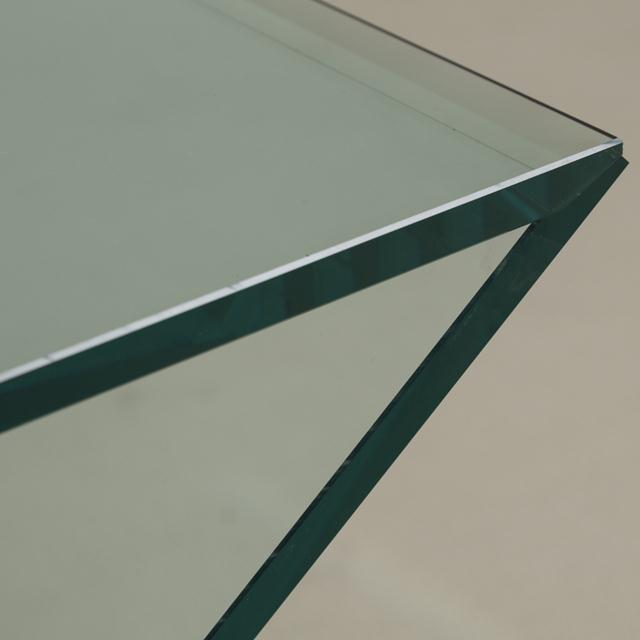 1980s Cantilevered Sculptural Glass Side Table For Sale - Image 5 of 6