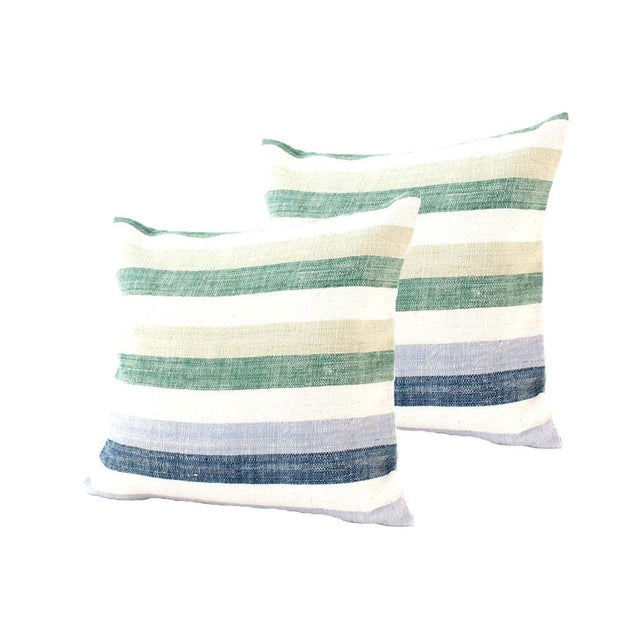 Blue & Green Striped Cotton Pillows - A Pair - Image 1 of 6