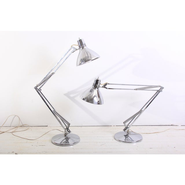 Large Vintage Industrial Chrome Task Lamps - Pair - Image 2 of 6